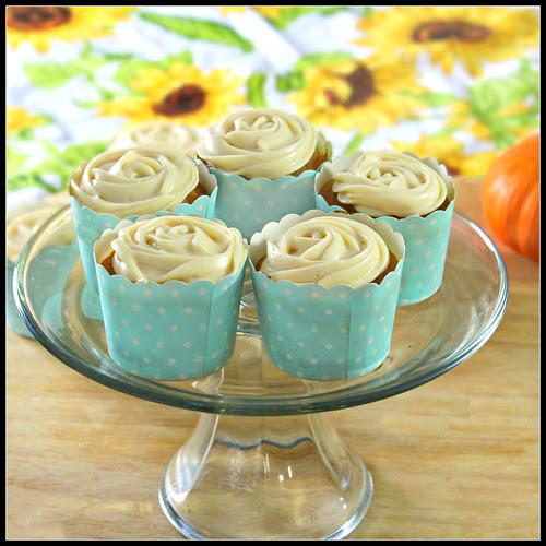 Pumpkin Cupcakes on pedestal