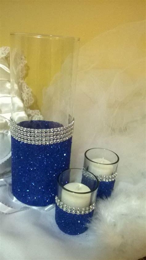 Royal blue glitter vase, wedding centerpiece, bridal
