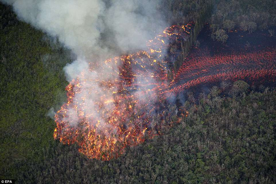 For the most part, the USGS reported the lava was moving at about 300 yards an hour on Saturday