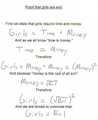 mathematical proof that girls equal evil