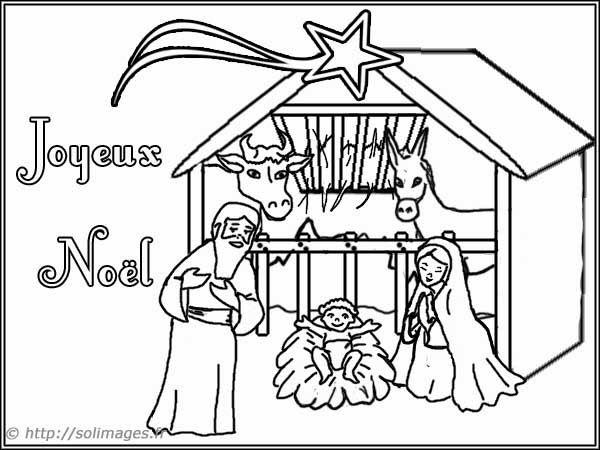 Coloriage Sur La Crèche De Noël Lenfant Jésus La Nativité La