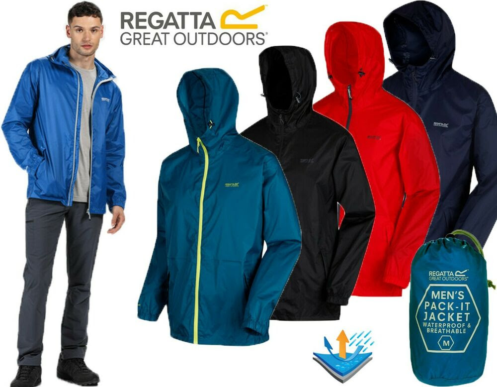 b2c35d1df ... MENS REGATTA LIGHTWEIGHT BREATHABLE WATERPROOF JACKET IN A BAG XSMALL  regatta waterproof jacket in a ...