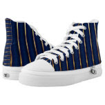 Navy Blue and Gold Stripe Patterns Printed Shoes