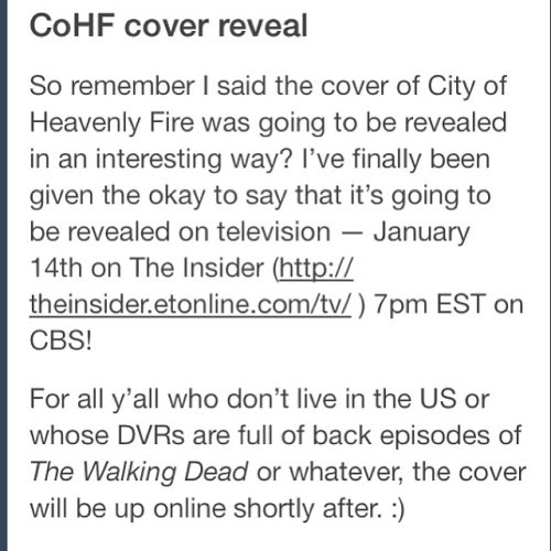 Exciting news from @cassieclare1 about the City of Heavenly Fire's cover reveal!!!!! We'll see it next week!