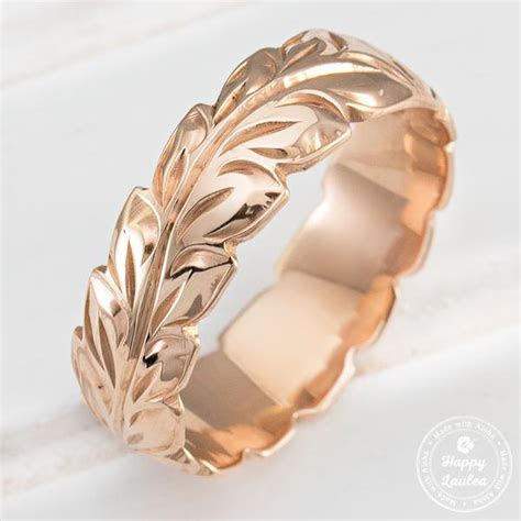 14k Gold Hand Engraved Ring with Hawaiian Maile Leaf