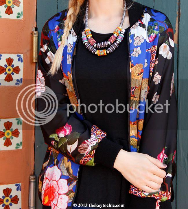 Zara Oriental bomber jacket, black peplum top