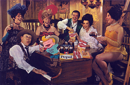 Disneyland Golden Horsehoe Cast with The Frito Kid 1967