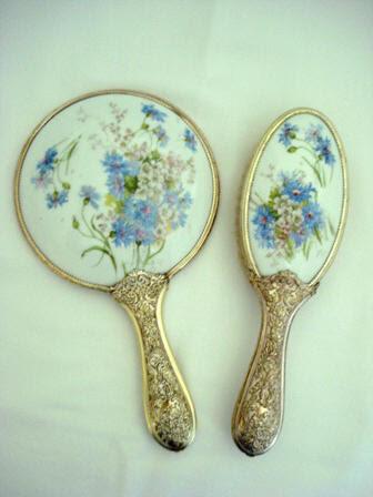 Victorian 1900 Mirror Brush Vanity Set Antique Porcelain