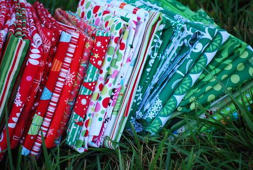 Christmas bee fabric