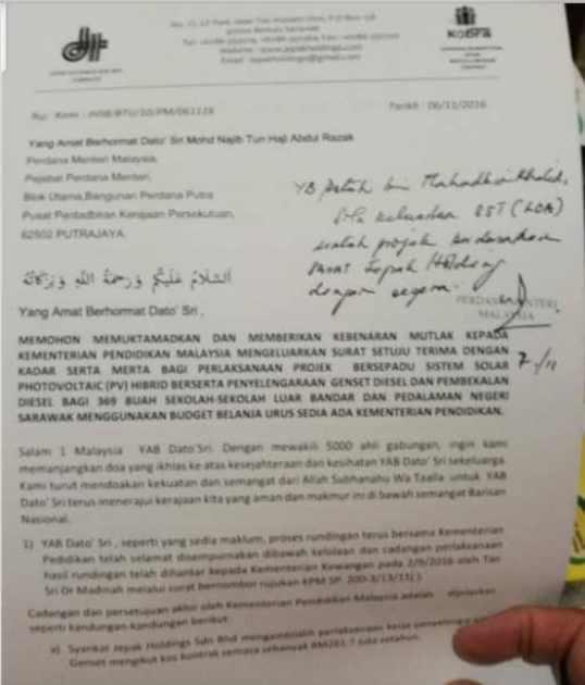 Letter to Najib from Jepak Nov 11th 2016