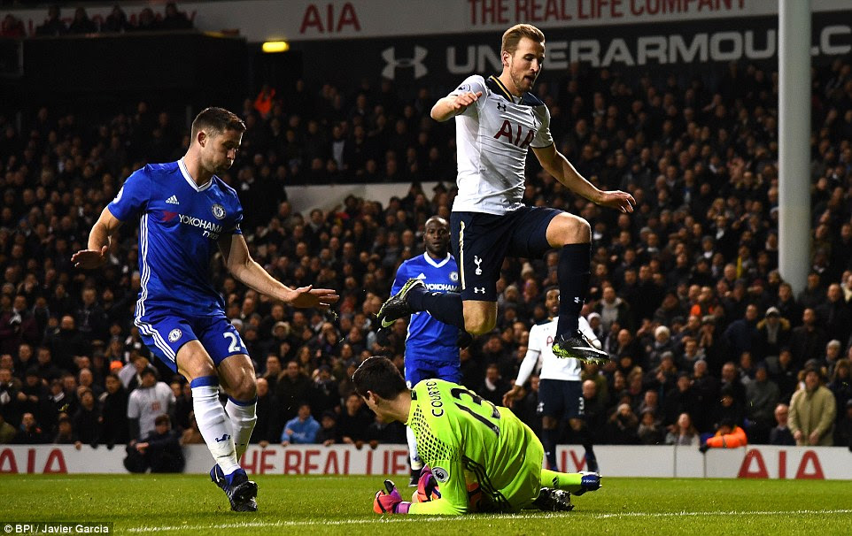 Spurs midfielder Mousa Dembele  tries to play a pass into the run of Kane but Courtois is out fast to scoop it up