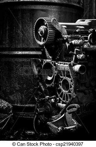 Old car engine, black and white photo. Old car engine part