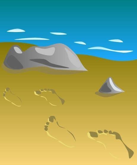 Footprints In Sand clip art Free vector in Open office