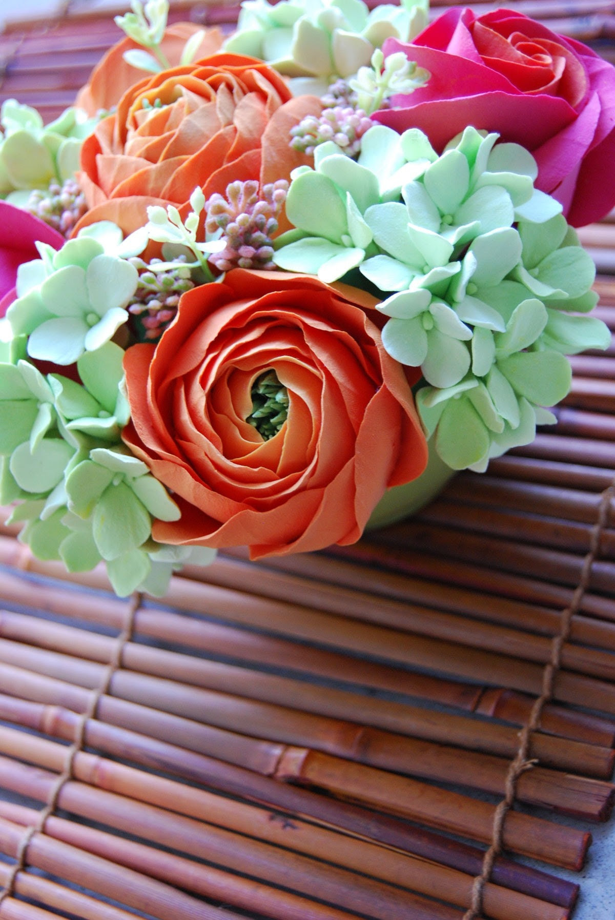 Spring Flowers - Oranges, Pinks and Greens
