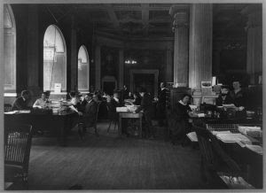 A.L.A. Library War Services Headquarters in the Library of Congress. 1918 or 1919. Prints and Photographs Division.