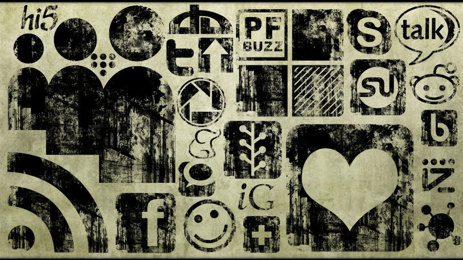 Black Ink Grunge Stamp Texture Social Media Icons