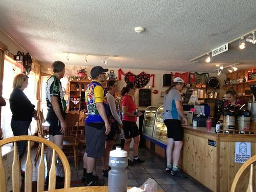 Randos swarming Rosie's Mountain Coffee Shop (the turnaround)