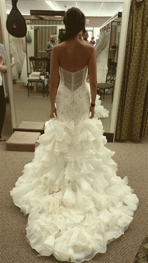 Maggie Sottero mermaid wedding dress with crystals see