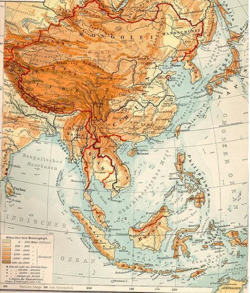 Mapa de 1903 de la región considerada tradicionalmente Extremo Oriente.