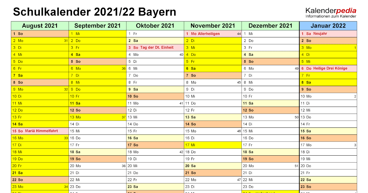 Kalenderpedia 2021 Bayern / Ferien Und Feiertage 2021 ...