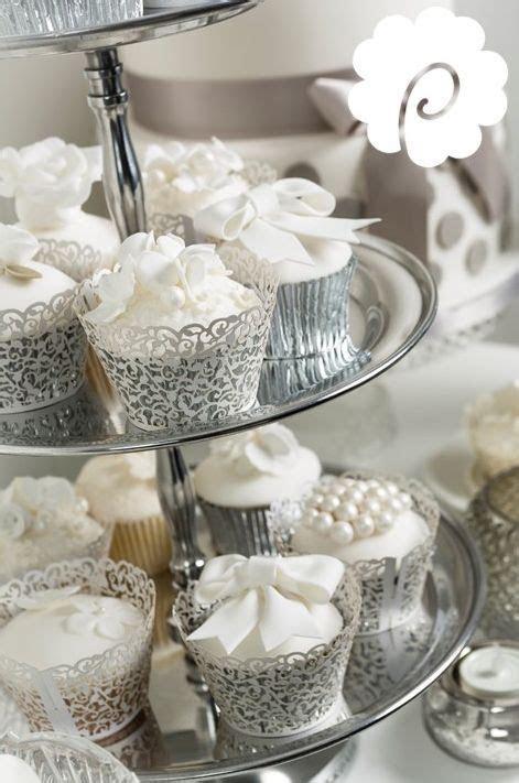 Silver white pearl elegant wedding cupcakes   Cupcake Art