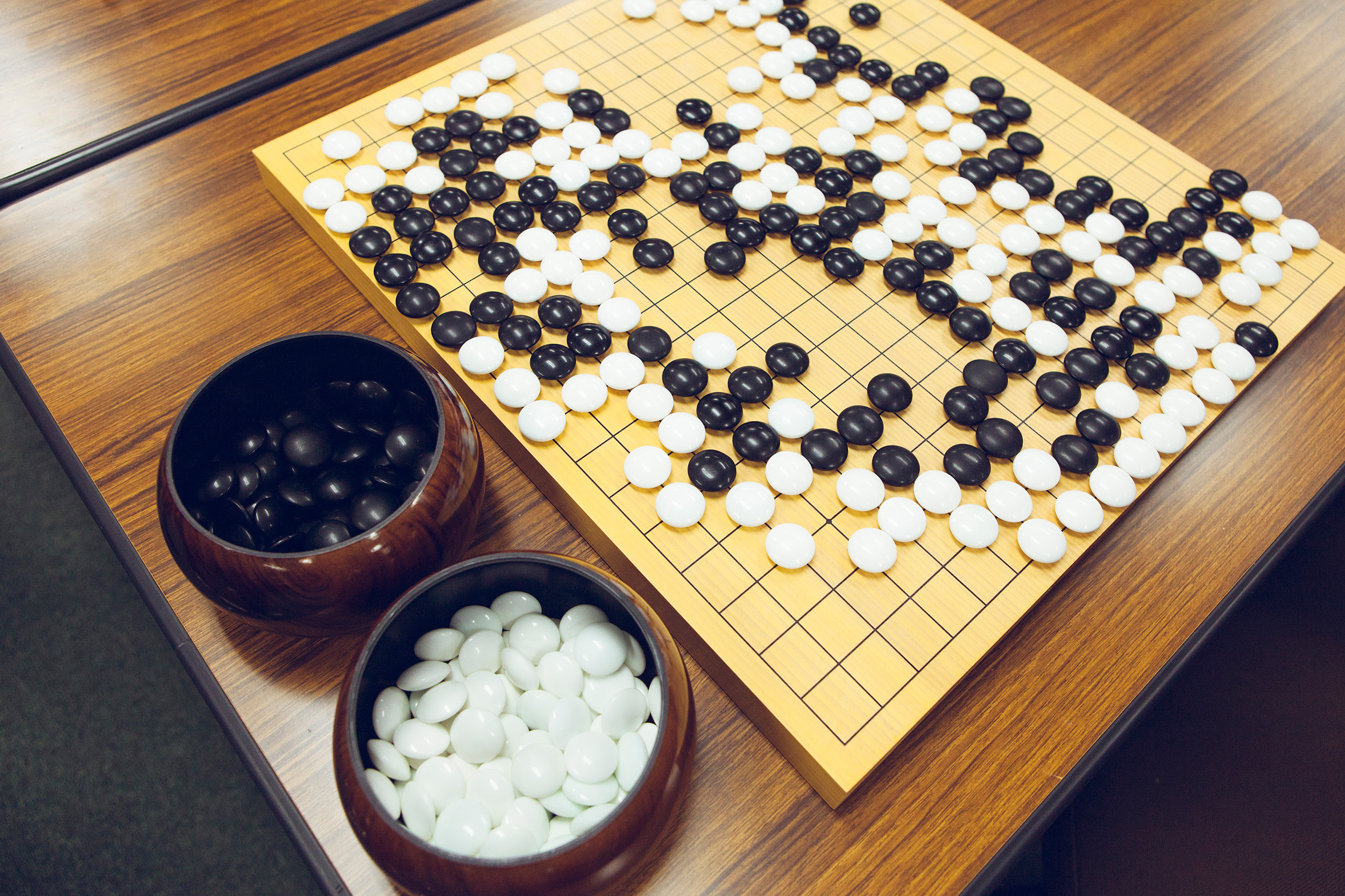 A traditional Go gameboard