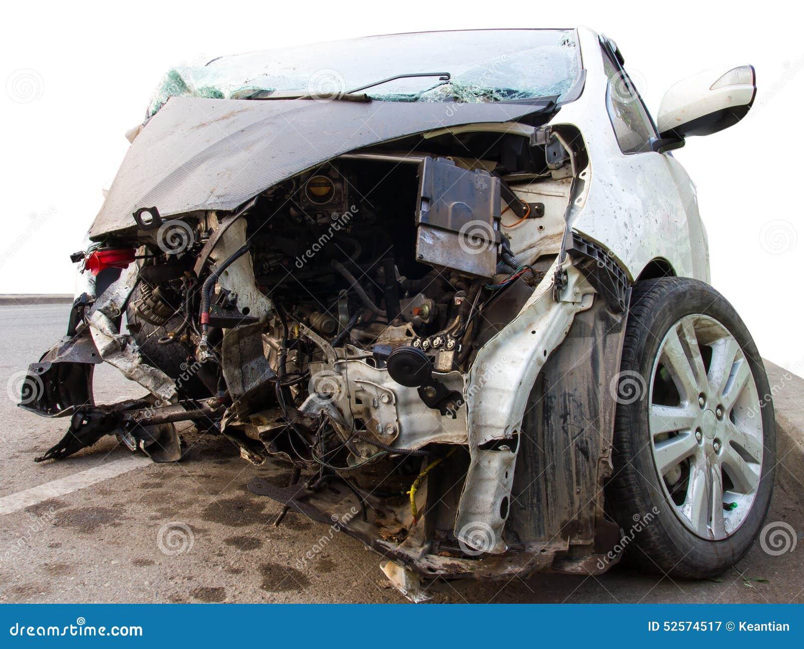 White Car Damaged Stock Photo Image 52574517