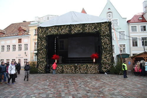 Makeshift stage at the Christmas Market