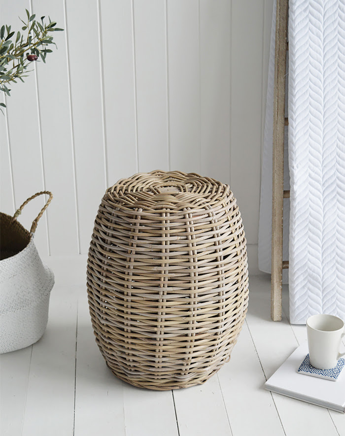 Casco Bay willow seat stool side table for coastal New England living room interiors and furniture