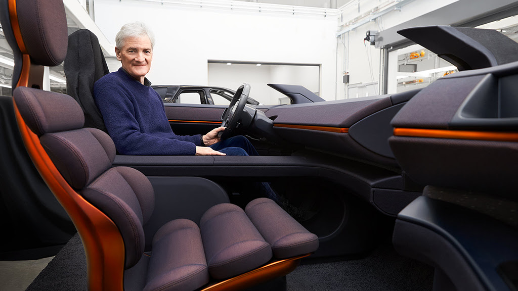 Sir James Dyson in his electric concept car