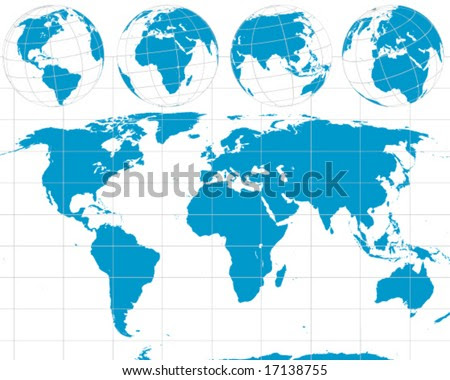 Detailed Vector World Outline Map With Globes For America'S, Africa, Asia,