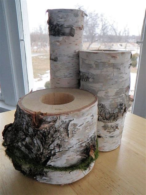 Birch Wood Centerpiece   Set of 3 for Weddings or Cottage