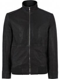 Reiss Wainscott Leather Zip Detail Jacket Off Black