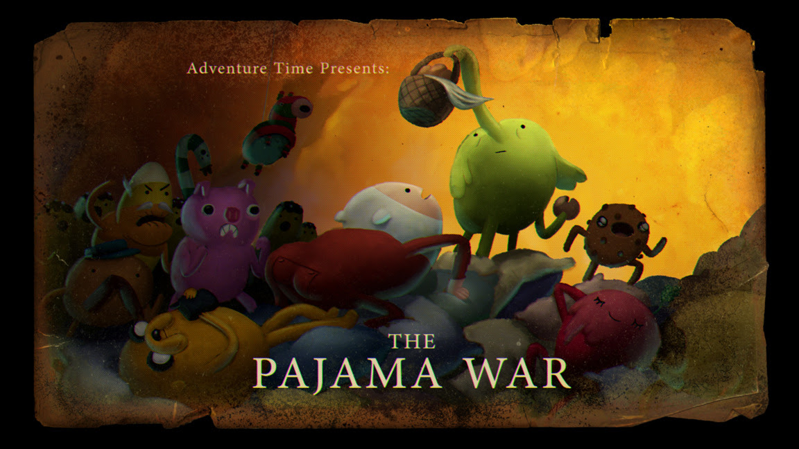 The Pajama War - title card, designed by Seo Kim, painted by Nick Jennings, premieres Thursday, January 8th at 7pm