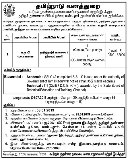 Chennai Vandalur Zoo Recruitment 2019 02 Assistant Draughtsman Posts