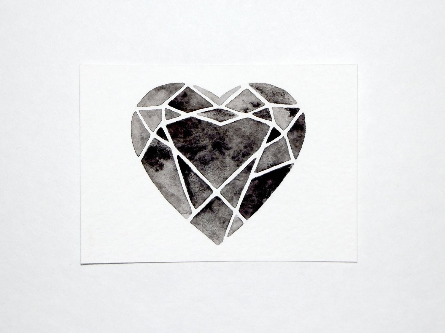 ACEO - Original Watercolor - Cutting Diamonds Heart - GeometricInk