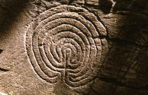 Seven-ring classical labyrinth of unknown age in Rocky Valley near Tintagel, Cornwall, UK