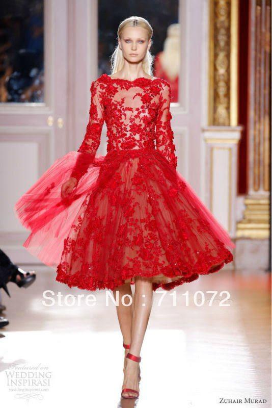 Red evening dress knee length