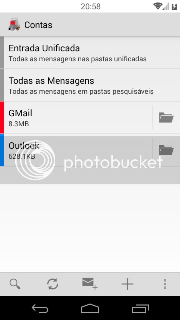 Interface Inicial do K-9 - 4 itens, Entrada Unificada, Todas as Mensagens, GMail e Outlook.