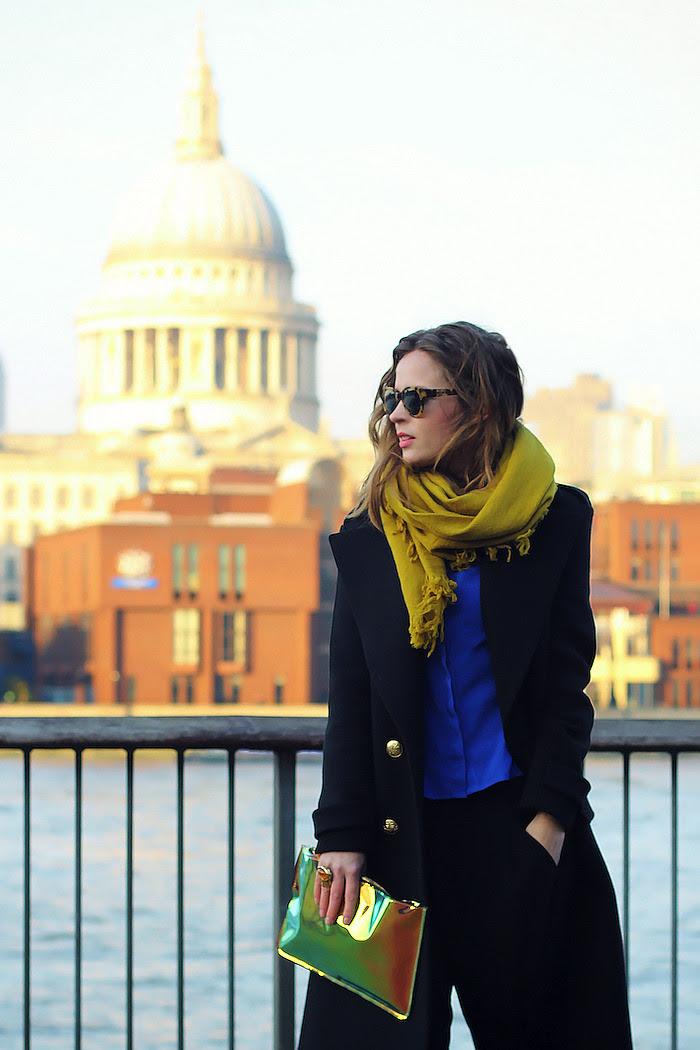 Zara Studiocoat, H&M shirt and bag, Zara trousers,YSLringandKaren Walkersunglasses(image:fash-n-chips)
