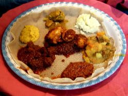 A delicious Ethiopian dinner spread