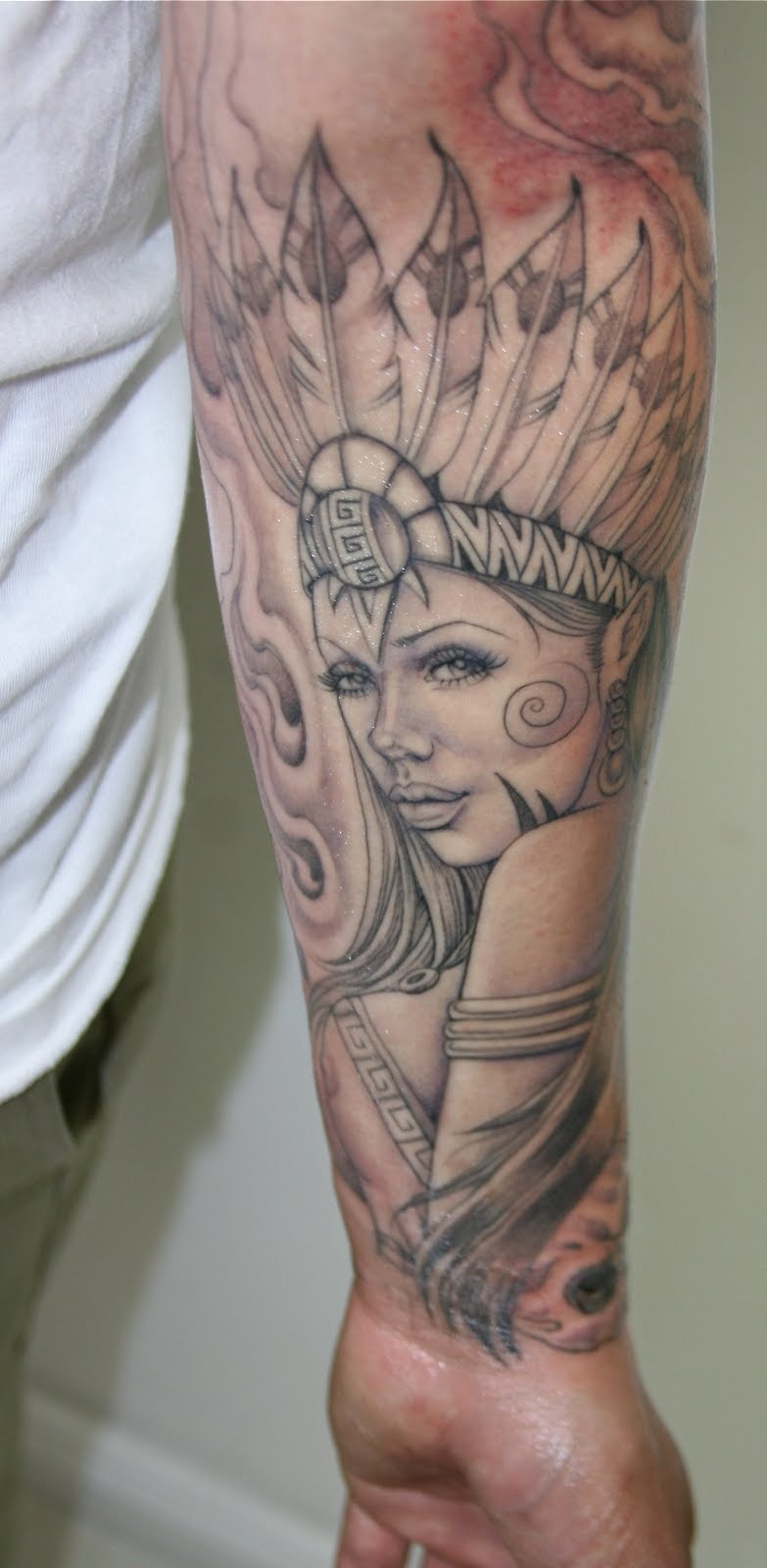 Awesome Aztec Girl Tattoo On Left Sleeve