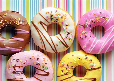 Photo Food Donuts Icing sugar Pastry Sweets Closeup