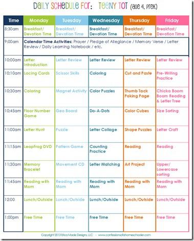 Daily Homeschool Schedule: Preschool - Confessions of a Homeschooler