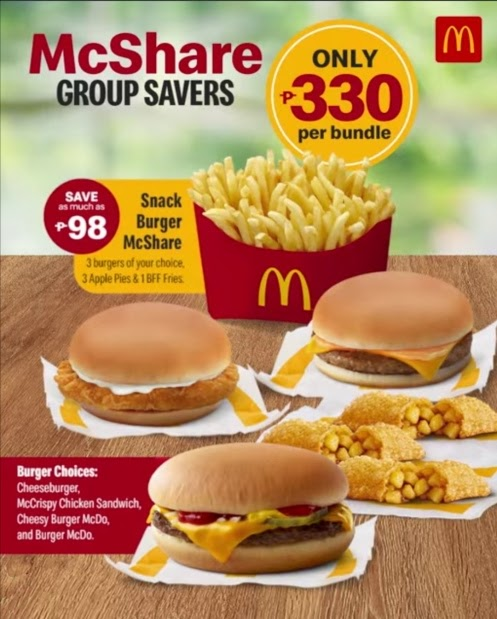Enjoy your weekend and choose from McDo's NEW Snack Burger McShare or Chicken McShare