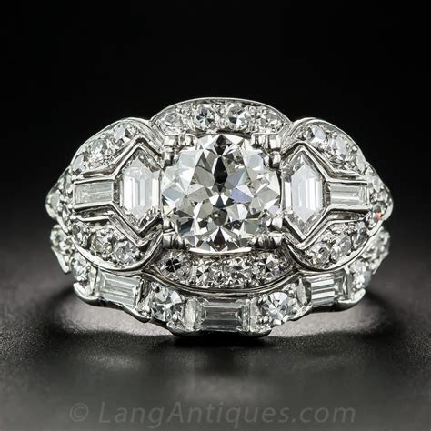 1.24 Carat Diamond and Platinum Art Deco Wedding Set   GIA