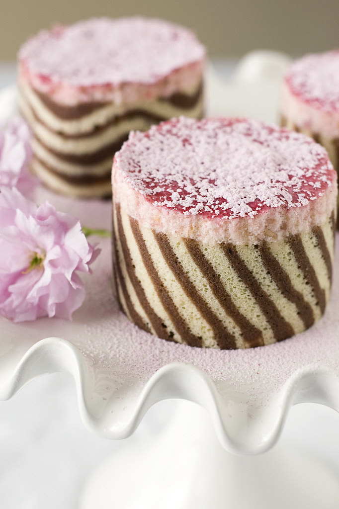 Lemon Rhubarb Mascarpone Mousse Cake - diagonal