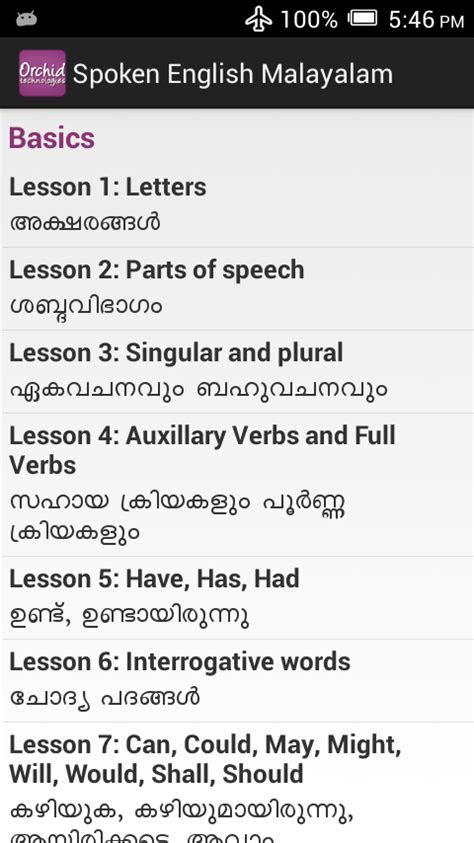 Android Spoken English Malayalam | Orchid Technologies