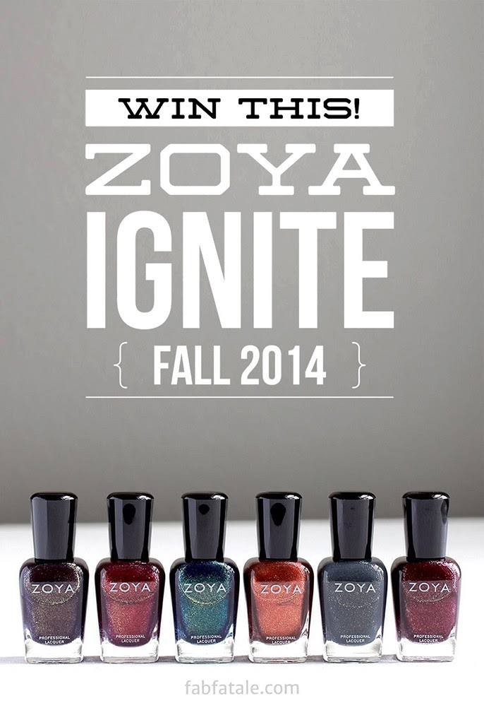 I just entered to win the newly released Zoya Ignite Fall 2014 collection at http://www.fabfatale.com/2014/09/zoya-ignite-collection-swatches/ #zoya #nailpolish #zoyaignite #giveaway