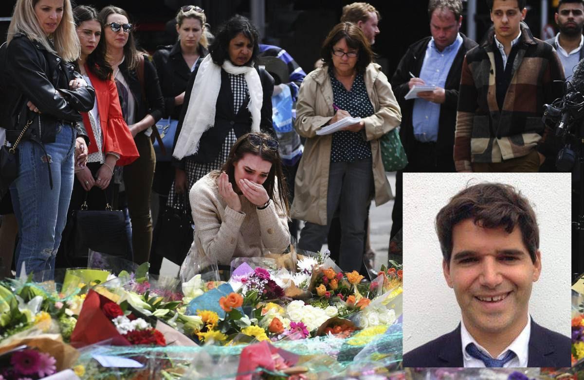 Una mujer llora en el lugar del atentado en Londres, hoy. En pequeño, Ignacio Echeverría.